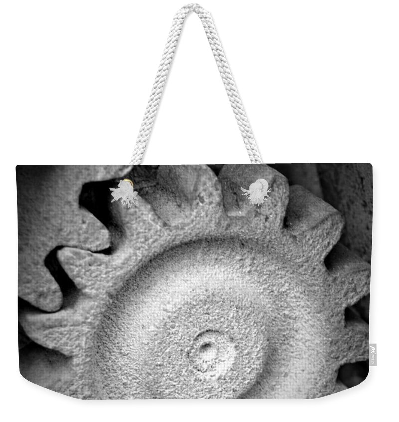 Monochrome Gear Weekender Tote Bag featuring the photograph Monochrome Gear by Chalet Roome-Rigdon