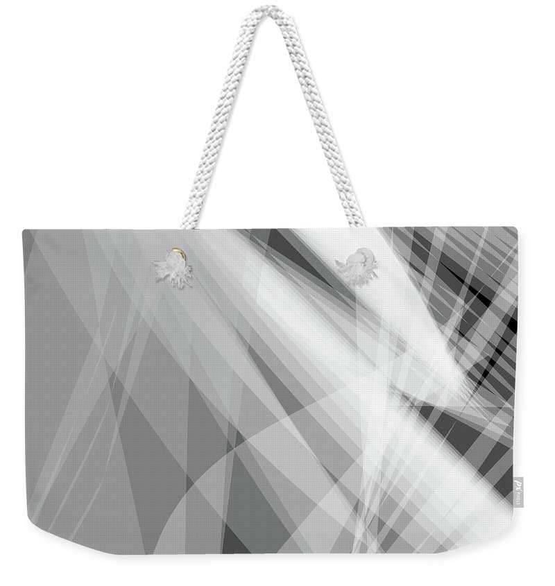 Wave Weekender Tote Bag featuring the digital art Monochrome White Abstract Vector Background, Gray Transparent Wa by Svetlana Corghencea