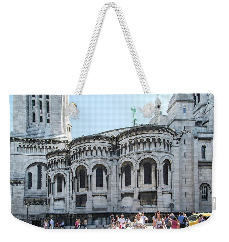 Europe Weekender Tote Bag featuring the digital art Montmarte Paris Art On The Street by Carol Ailles