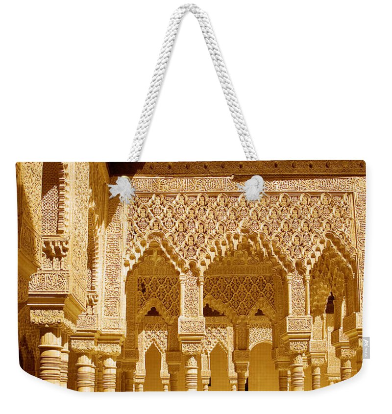 Moorish Weekender Tote Bag featuring the photograph Moorish Architecture In The Nasrid Palaces At The Alhambra Granada by Mal Bray