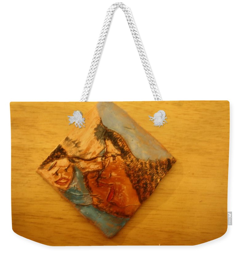 Jesus Weekender Tote Bag featuring the ceramic art Morning - Tile by Gloria Ssali