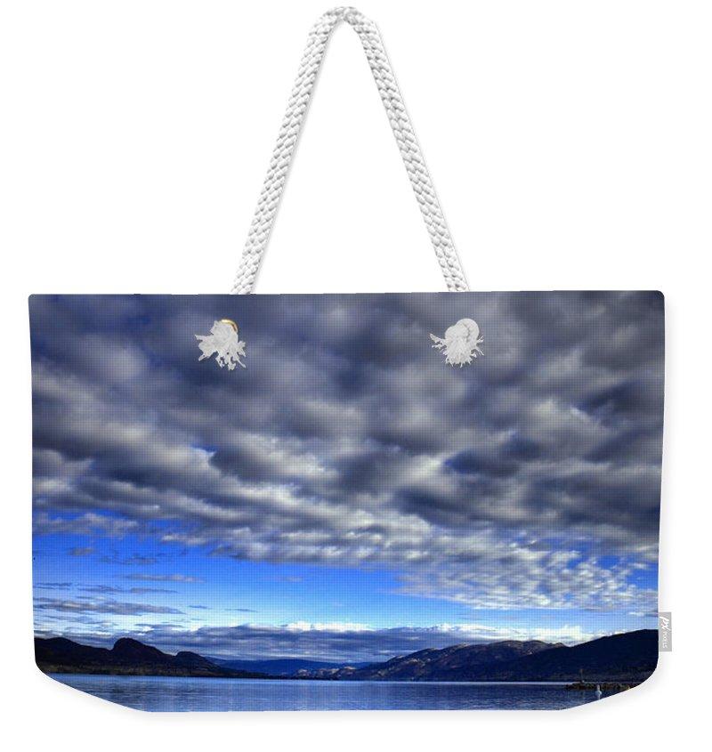 Clouds Weekender Tote Bag featuring the photograph Morning Light On Okanagan Lake by Tara Turner
