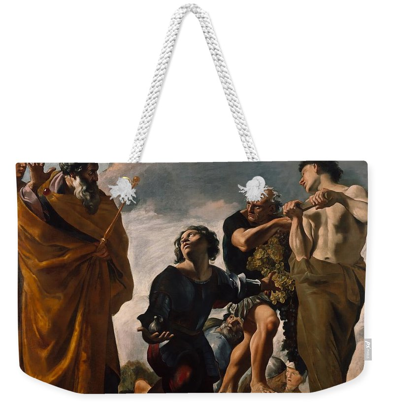 Painting Weekender Tote Bag featuring the painting Moses And The Messengers From Canaan by Mountain Dreams