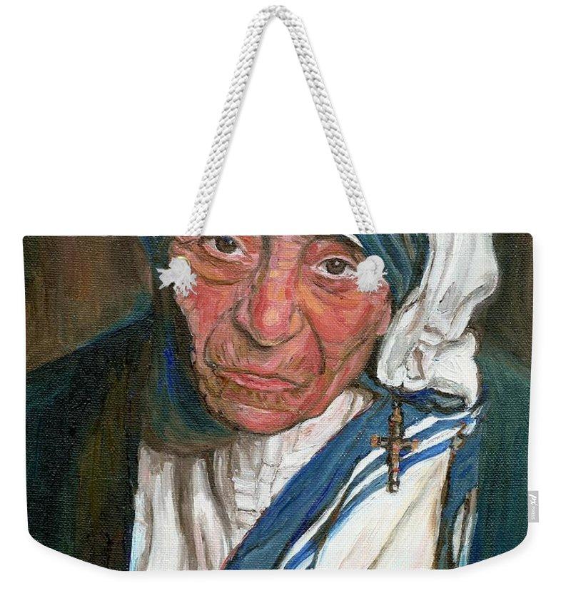 Mother Teresa Weekender Tote Bag featuring the painting Mother Teresa by Carole Spandau