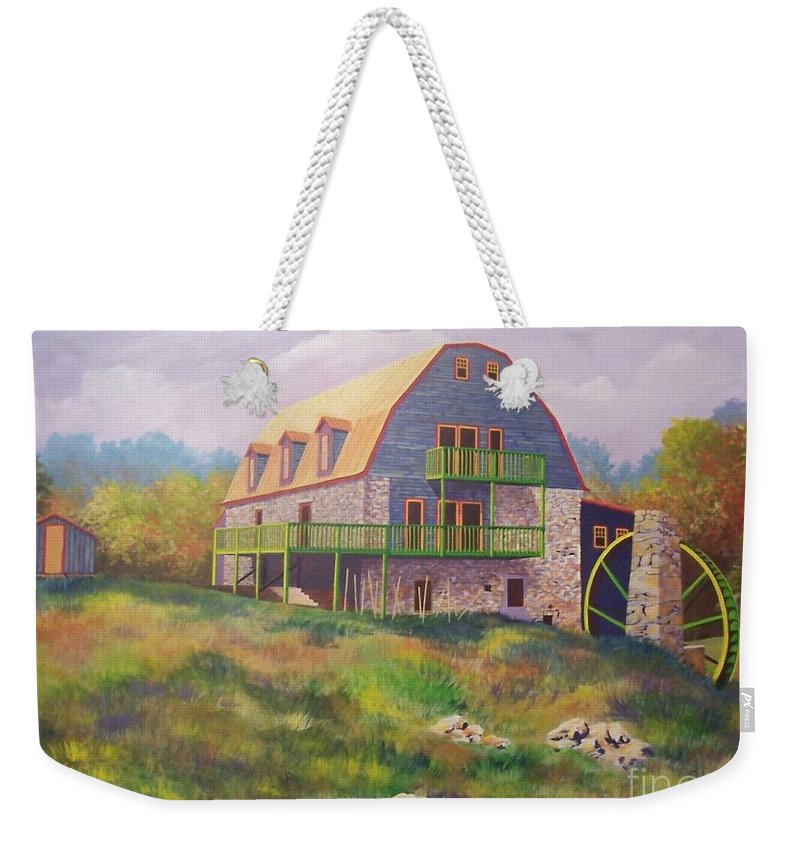Mill Weekender Tote Bag featuring the painting Mountain Mill by Hugh Harris