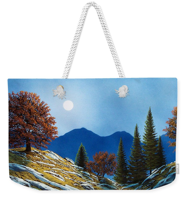 Landscape Weekender Tote Bag featuring the painting Mountain Moonrise by Frank Wilson