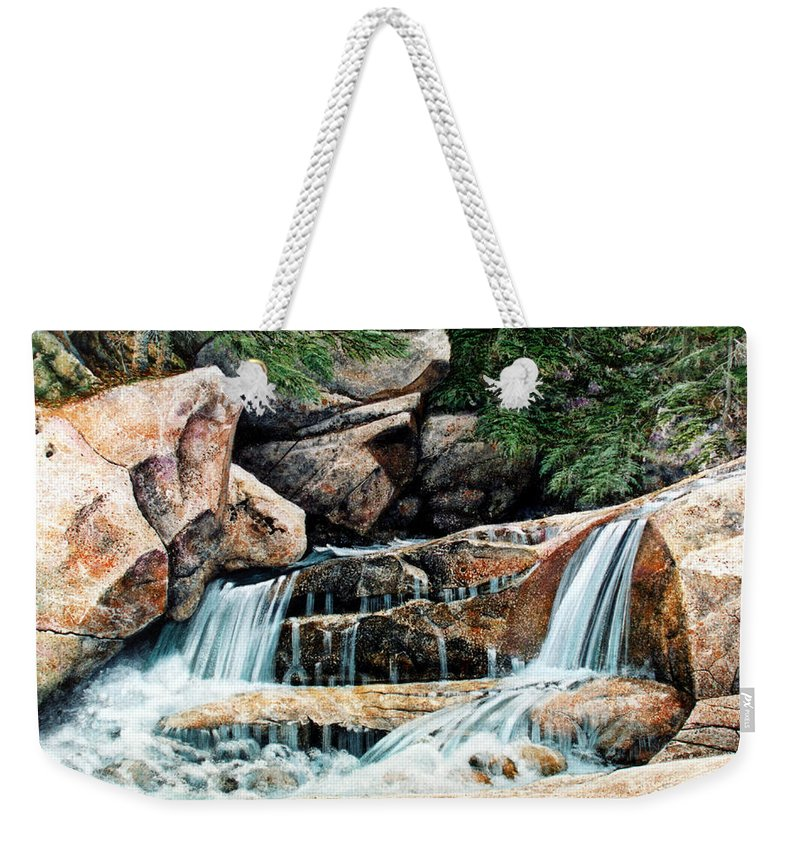 Landscape Weekender Tote Bag featuring the painting Mountain Stream by Frank Wilson
