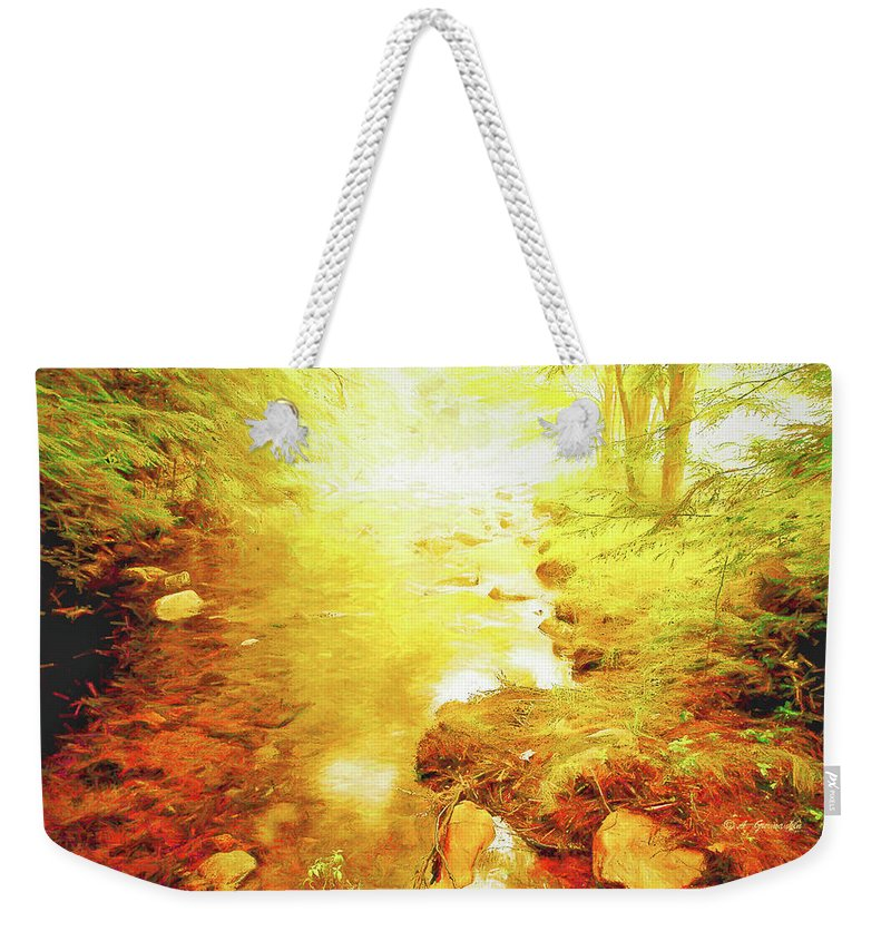 Mountain Stream Weekender Tote Bag featuring the digital art Mountain Stream In Summer Mist by A Gurmankin