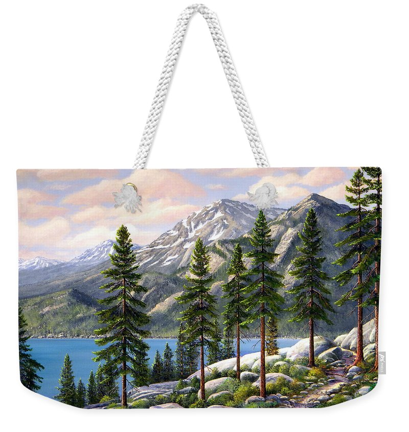 Landscape Weekender Tote Bag featuring the painting Mountain Trail by Frank Wilson