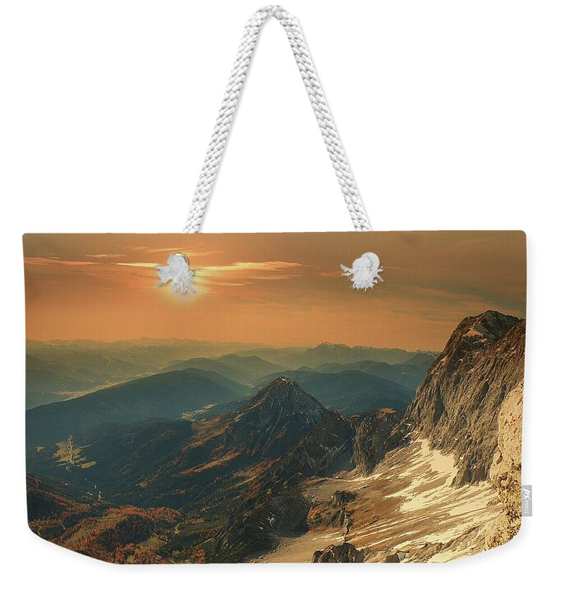 Landscape Weekender Tote Bag featuring the photograph Mountain Valley by Alex Lim