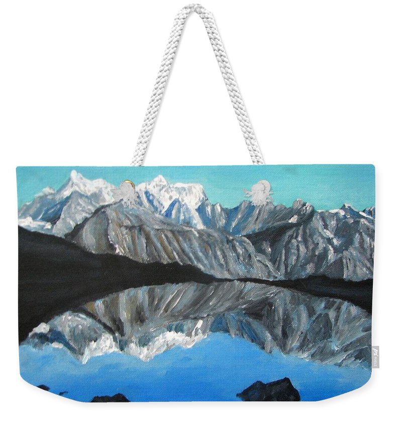 Smoky Mountains Weekender Tote Bag featuring the painting Mountains Landscape Acrylic Painting by Natalja Picugina