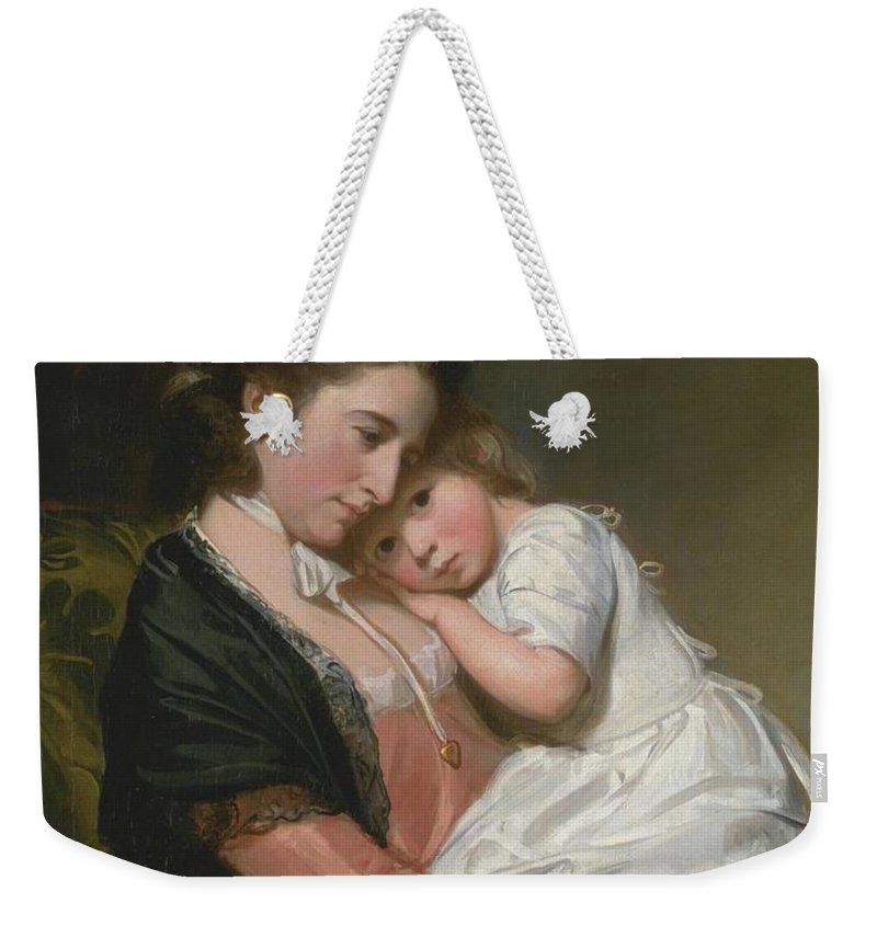 George Romney 1734�1802  Mrs Johnstone And Her Son Weekender Tote Bag featuring the painting Mrs Johnstone And Her Son by George Romney