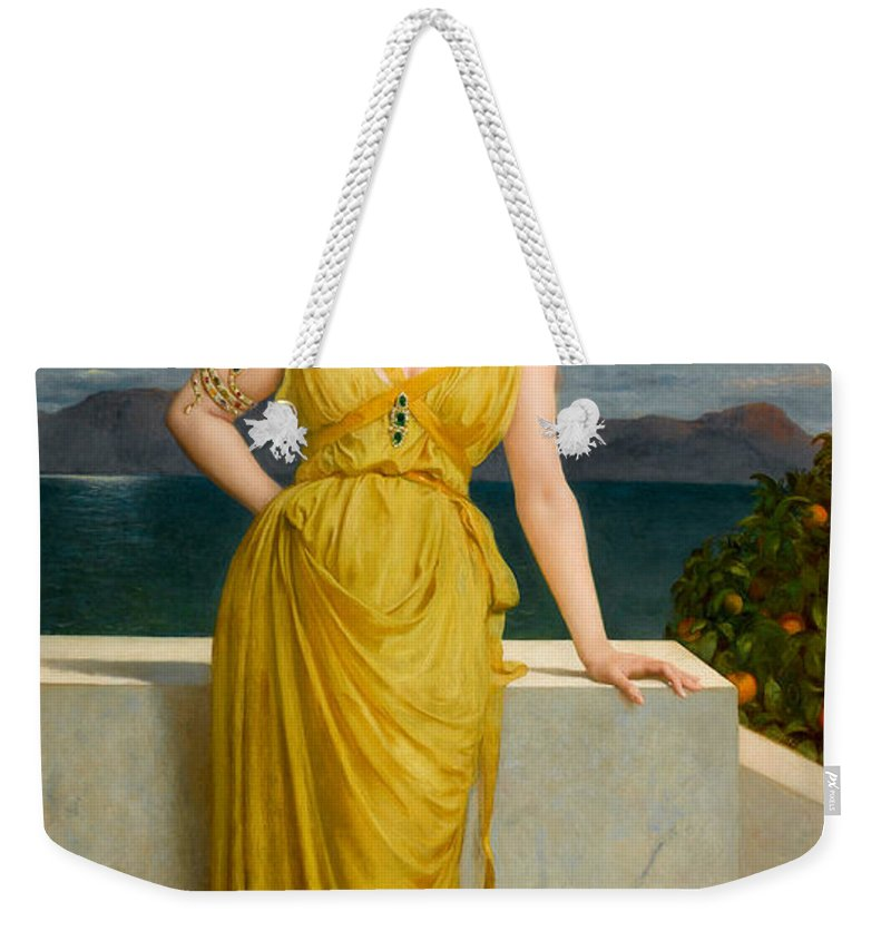 Frederick Goodall Weekender Tote Bag featuring the painting Mrs Kettlewell by Frederick Goodall
