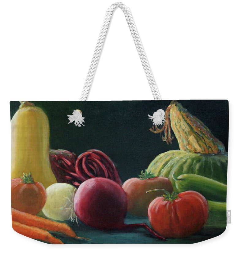 Vegetables Weekender Tote Bag featuring the painting My Harvest Vegetables by Lorraine Vatcher