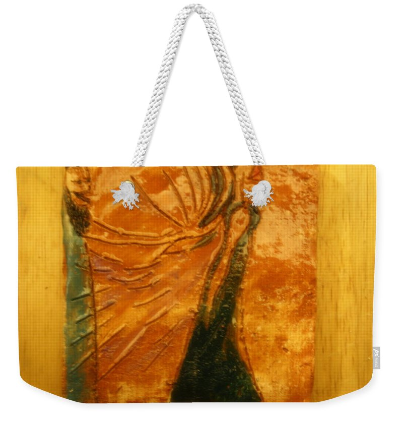 Jesus Weekender Tote Bag featuring the ceramic art My Heart Is For Me - Tile by Gloria Ssali