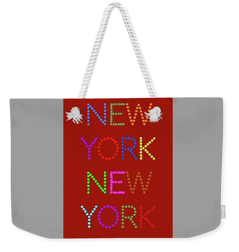 New York Weekender Tote Bag featuring the digital art New York No 1 by LogCabinCottage