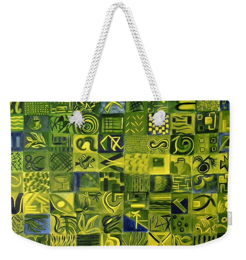 Green Weekender Tote Bag featuring the painting Night On The Lawn by Patricia Cleasby