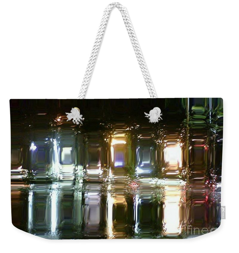 Abstract Weekender Tote Bag featuring the painting Night Reflections by Zenya Zenyaris