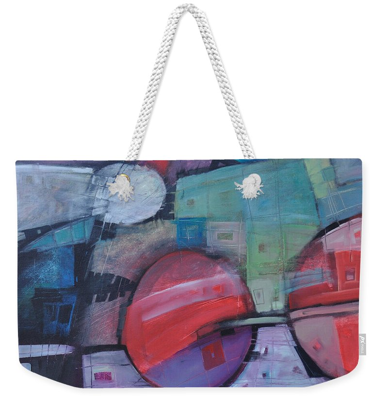 Train Weekender Tote Bag featuring the painting Night Train by Tim Nyberg