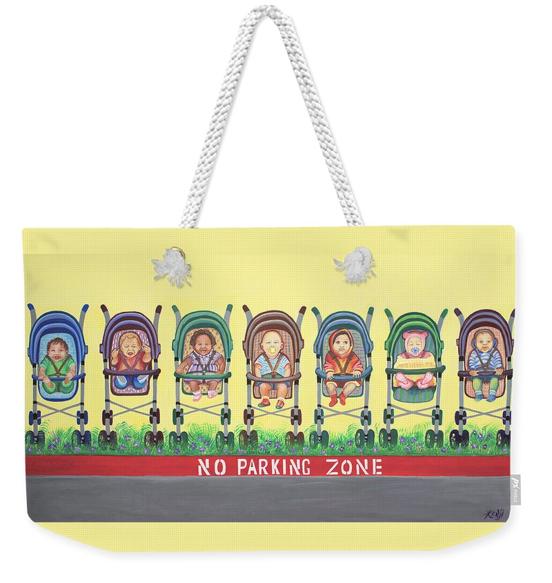 Children Weekender Tote Bag featuring the painting No Parking Zone by Kenji Lauren Tanner