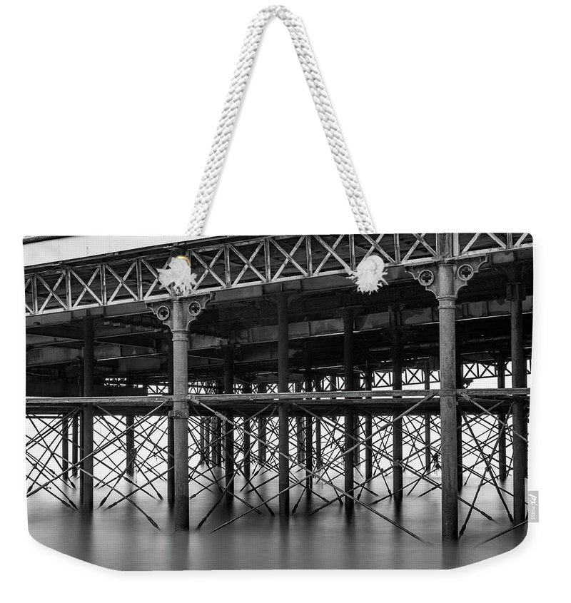 Black And White Image Weekender Tote Bag featuring the photograph North Pier Blackpool by Mike Walker