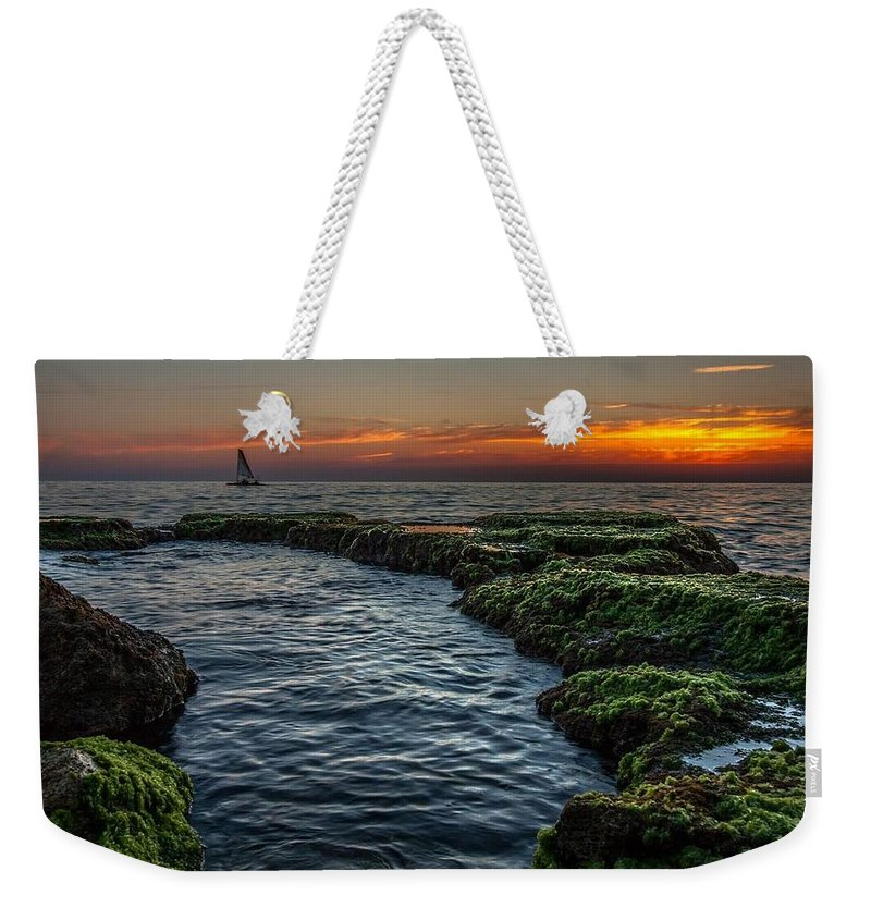 Sunset Landscape Sea Boat Weekender Tote Bag featuring the pyrography Romantic Sunset by Bilal Zedan