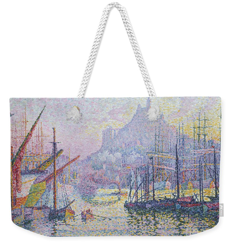 Signac Weekender Tote Bag featuring the painting Notre Dame De La Garde, La Bonne Mere, Marseilles by Paul Signac