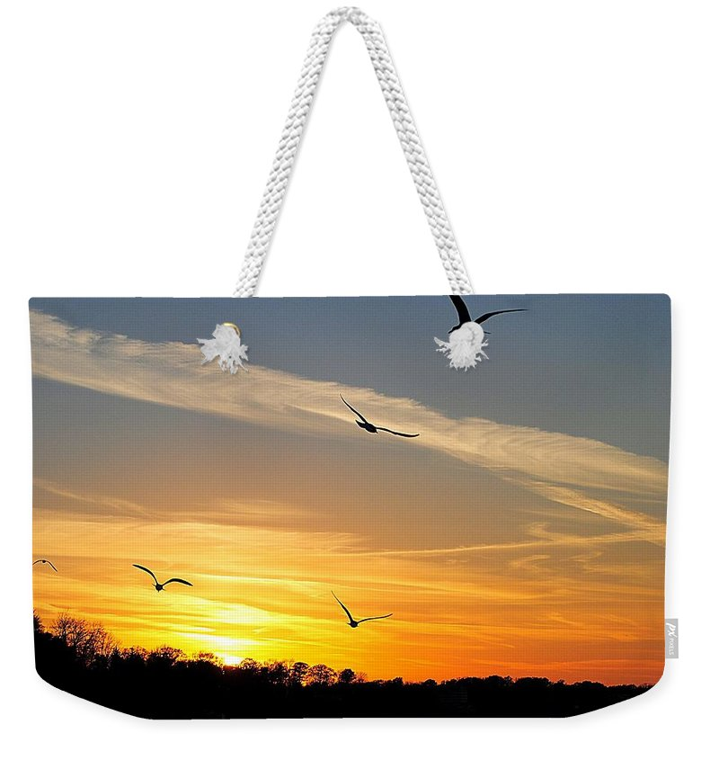 Lake Weekender Tote Bag featuring the photograph November Sunset by Frozen in Time Fine Art Photography