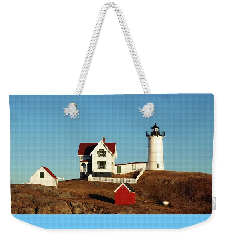 Nubble Weekender Tote Bag featuring the photograph Nubble Light House by Mary Capriole