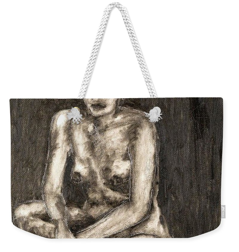 Clay Weekender Tote Bag featuring the painting Nude by Thomas Valentine