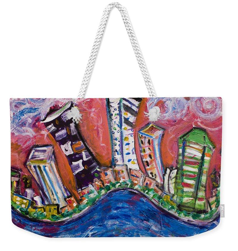 New York Skyline Manhattan Weekender Tote Bag featuring the painting Nyc Impressions 3 by Jason Gluskin