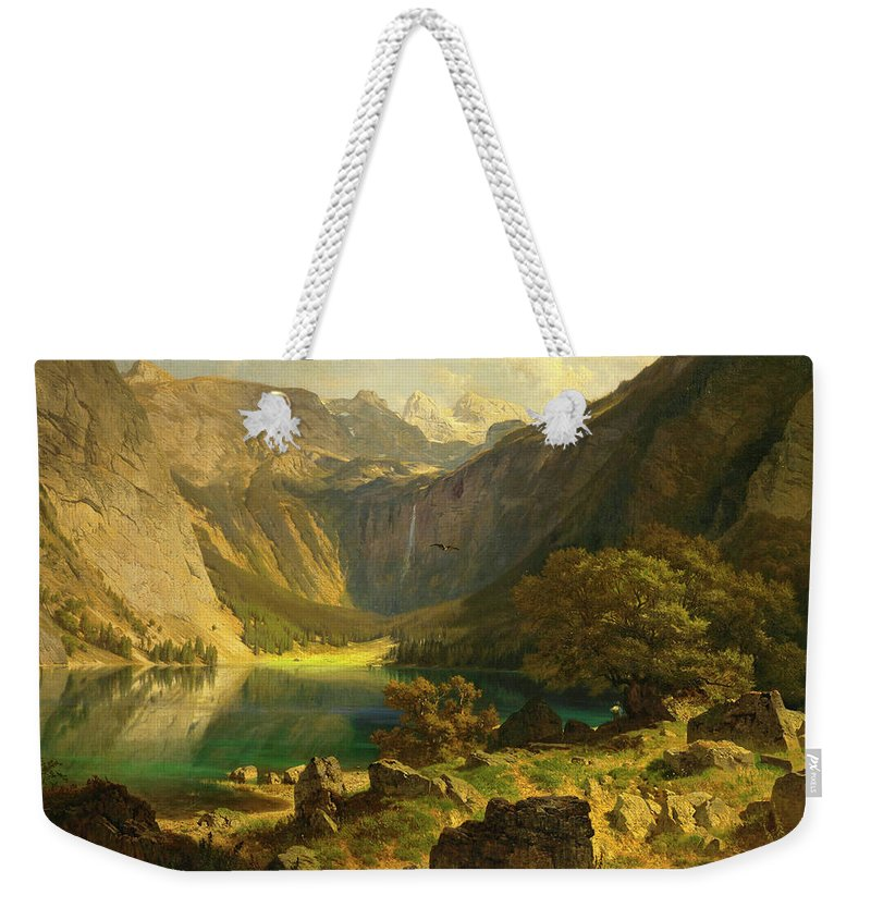 Johann Gottfried Steffan Weekender Tote Bag featuring the painting Obersee. Bavarian Alps by Johann Gottfried Steffan