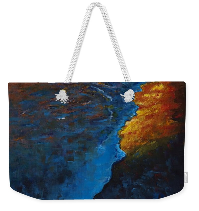 Abstract Ocean Weekender Tote Bag featuring the painting Ocean Sunset by Frances Marino