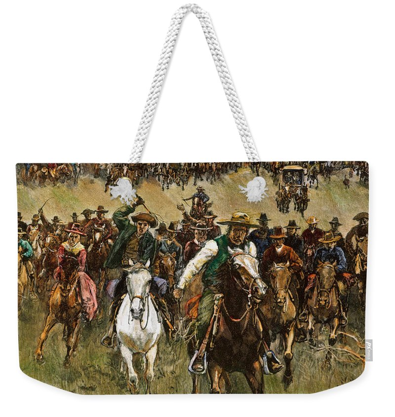 1891 Weekender Tote Bag featuring the photograph Oklahoma Land Rush, 1891 by Granger