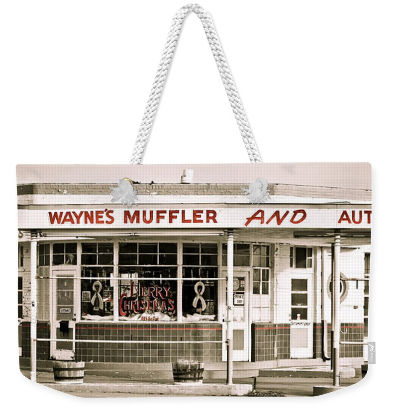 Filling Station Weekender Tote Bag featuring the photograph Old Art Deco Filling Station by Marilyn Hunt