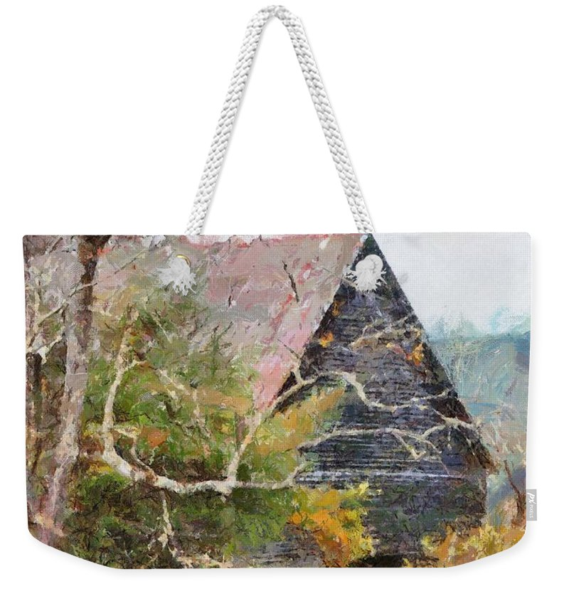 Landscape Weekender Tote Bag featuring the digital art Old Barn At Cades Cove by Todd Blanchard