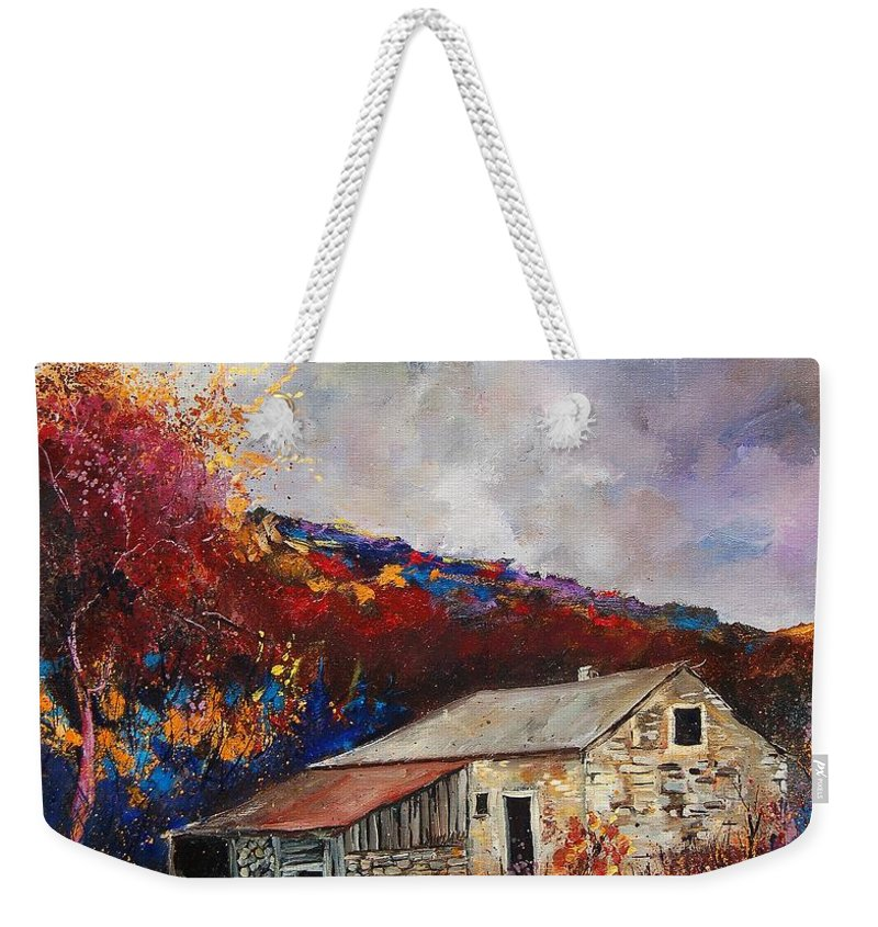 Village Weekender Tote Bag featuring the painting Old Barn by Pol Ledent