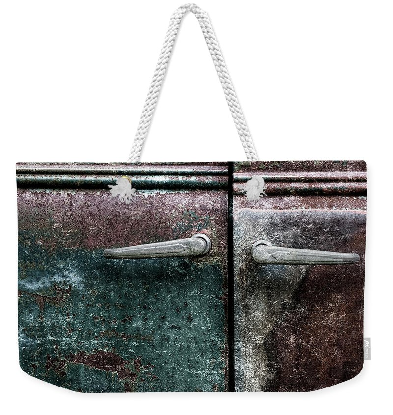 Old Weekender Tote Bag featuring the photograph Old Car Weathered Paint by Carol Leigh