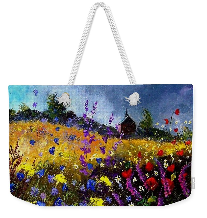 Flowers Weekender Tote Bag featuring the painting Old Chapel And Flowers by Pol Ledent