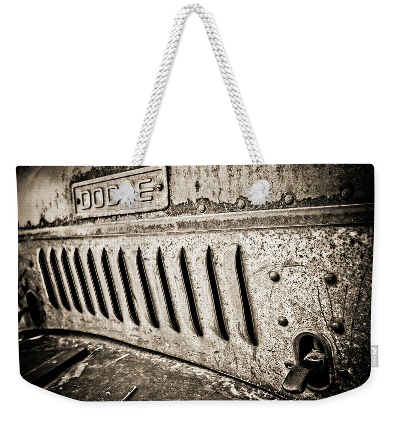 Car Weekender Tote Bag featuring the photograph Old Dodge Grille by Marilyn Hunt