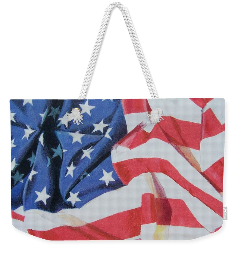 Flag Weekender Tote Bag featuring the mixed media Old Glory by Constance Drescher