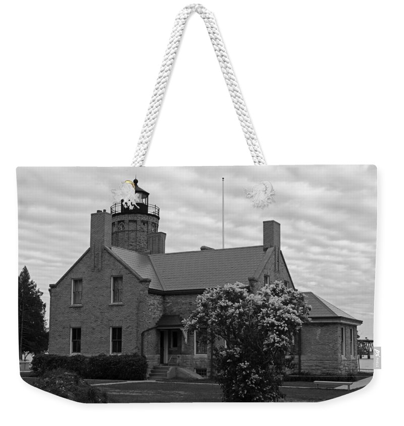 Mackinac Point Lighthouse Weekender Tote Bag featuring the photograph Old Mackinac Point Lighthouse by Michiale Schneider