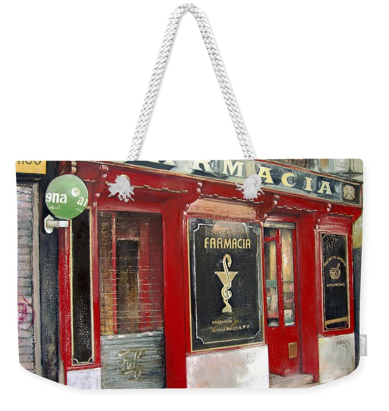 Farmacia Weekender Tote Bag featuring the painting Old Pharmacy by Tomas Castano