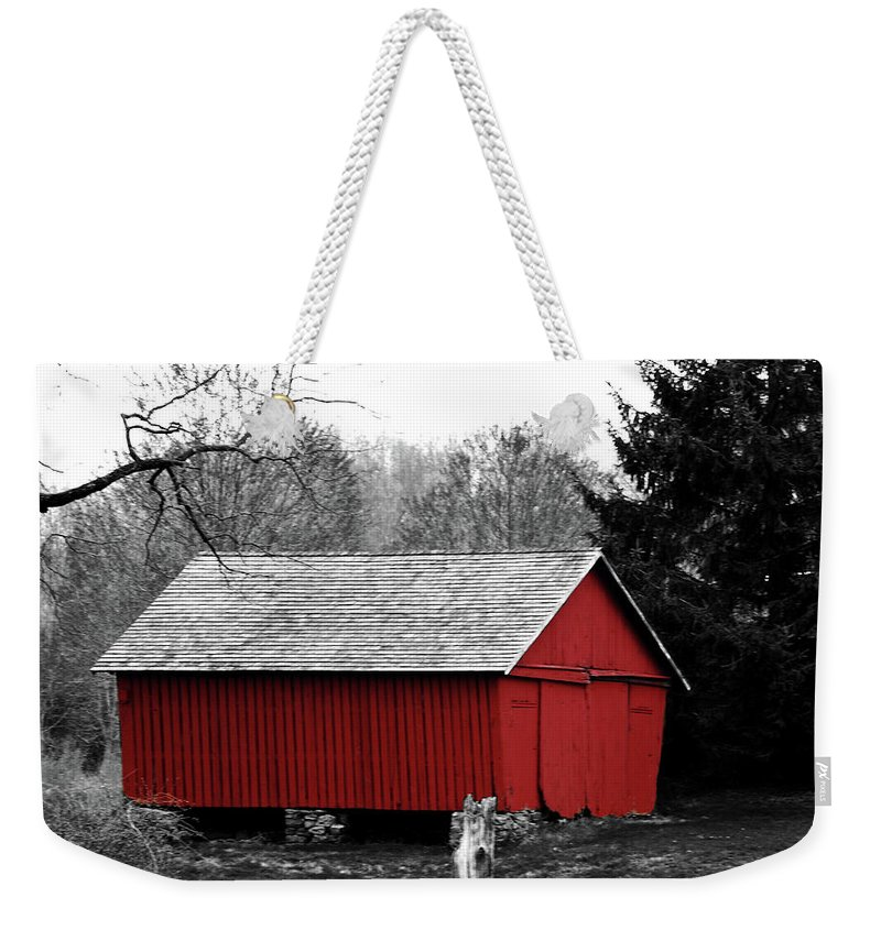 Red Weekender Tote Bag featuring the photograph Old Red by Lori Tambakis