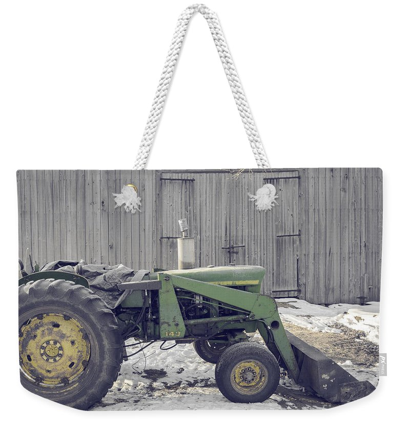 Etna Weekender Tote Bag featuring the photograph Old Tractor By The Grey Barn by Edward Fielding
