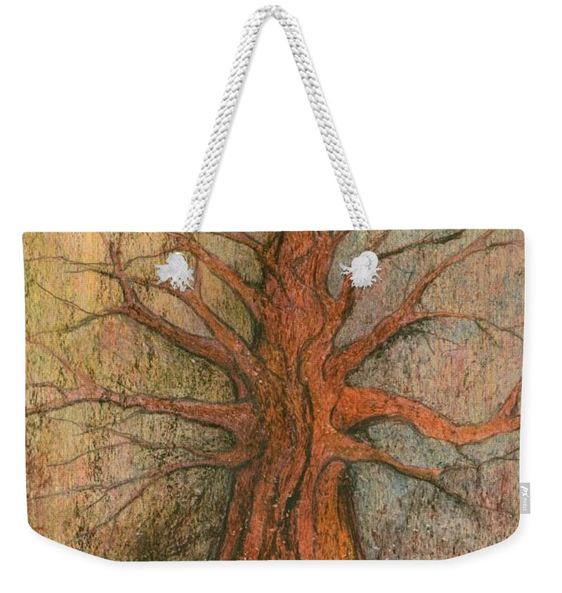 Colour Weekender Tote Bag featuring the painting Old Tree by Wojtek Kowalski