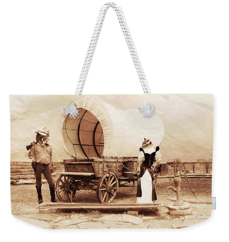 Sepia Weekender Tote Bag featuring the photograph Old West Cats by Gravityx9 Designs