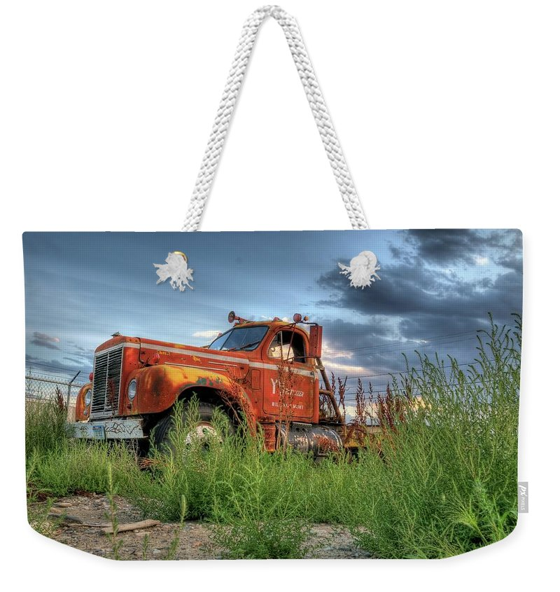 Truck Weekender Tote Bag featuring the photograph Orange Truck by Dave Rennie