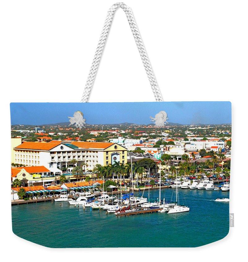 Aruba Weekender Tote Bag featuring the photograph Oranjestad Aruba by Gary Wonning