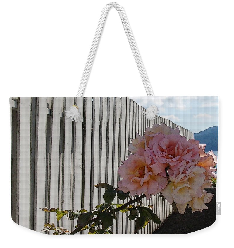 Rose Weekender Tote Bag featuring the photograph Orcas Island Rose by Tim Nyberg